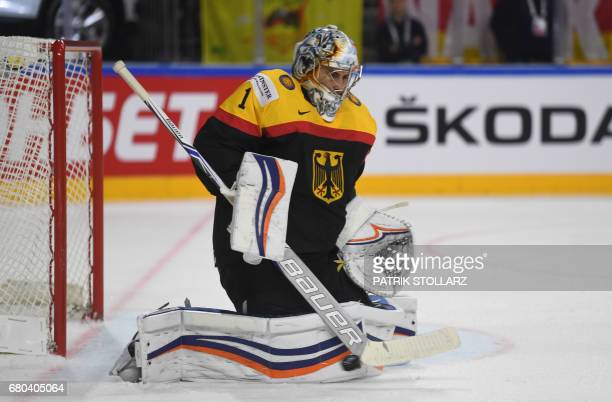 Germany´s goalkeeper Thomas Greiss makes a save during the IIHF Ice Hockey World Championships first round match between Germany and Russia in...