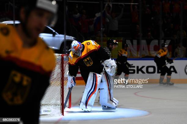 Germany's goalkeeper Thomas Greiss reacts during the IIHF Ice Hockey World Championship first round match between Germany and Russia in Cologne...