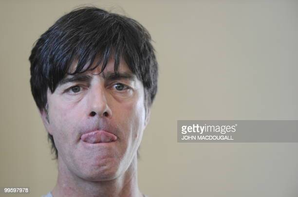 Germany's head coach Joachim Loew addresses a press conference following a training session at the Verdura Golf and Spa resort near Sciacca May 16...
