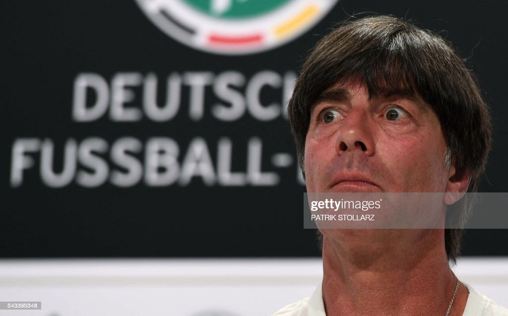 Germany's head coach Joachim Loew addresses a press conference at Germany's training grounds in Evian, eastern France, on June 28, 2016, during the Euro 2016 football tournament. / AFP / PATRIK