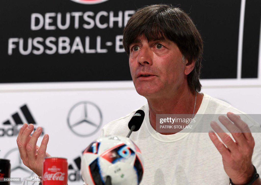 Germany's head coach Joachim Loew addresses a press conference at the team's training grounds in Evian, eastern France, on June 28, 2016, during the Euro 2016 football tournament. / AFP / PATRIK