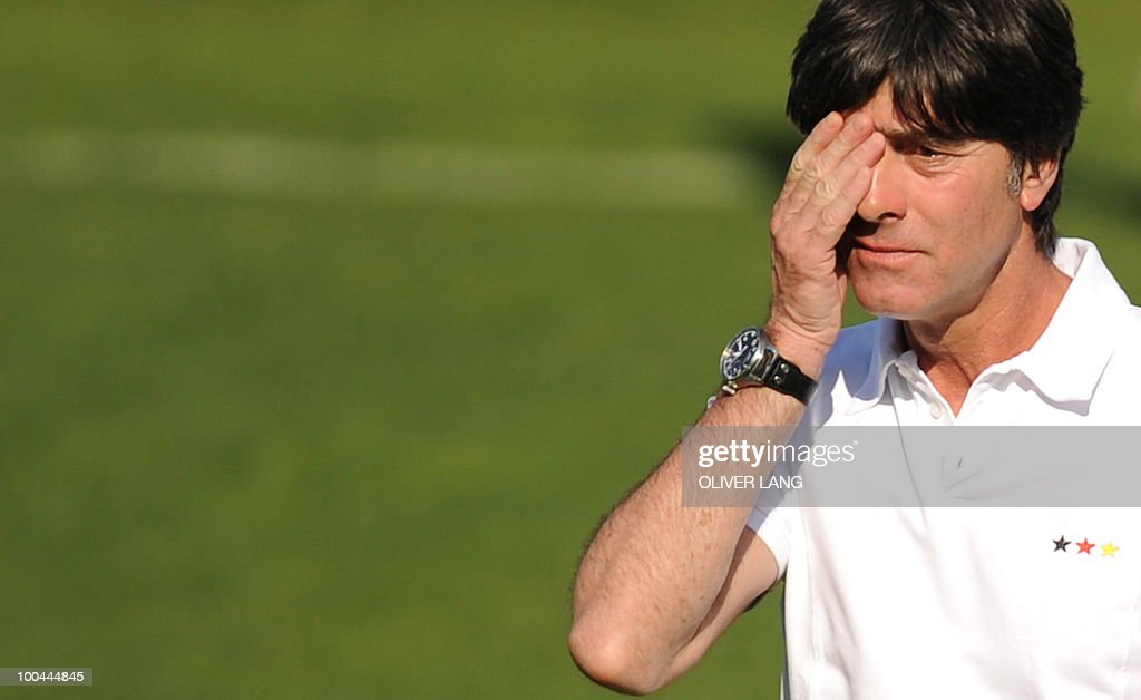 Germany's head coach Joachim Loew gestures during a training match Germany vs Sued Tyrol FC at the team's training centre in Appiano, near the north Italian city of Bolzano May 24, 2010. The German football team is currently taking part in a 12-day training camp in Appiano to prepare for the upcoming FIFA Football World Cup in South Africa.