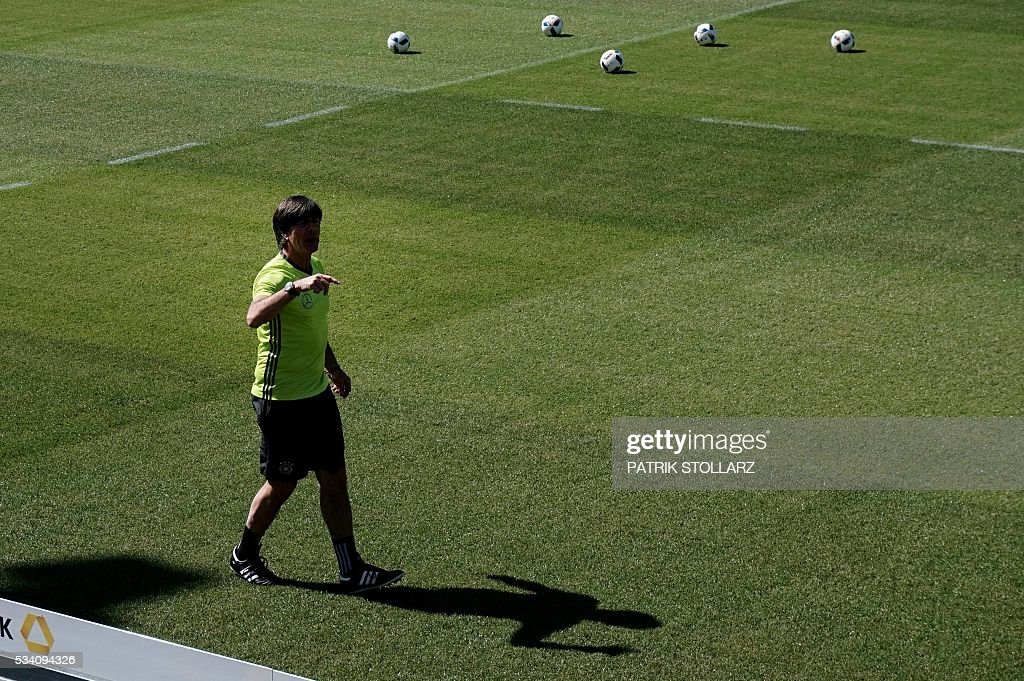 Germany's head coach Joachim Loew gestures during a training session as part of the team's preparation for the upcoming Euro 2016 European football championships, on May 25, 2016 in Ascona. STOLLARZ
