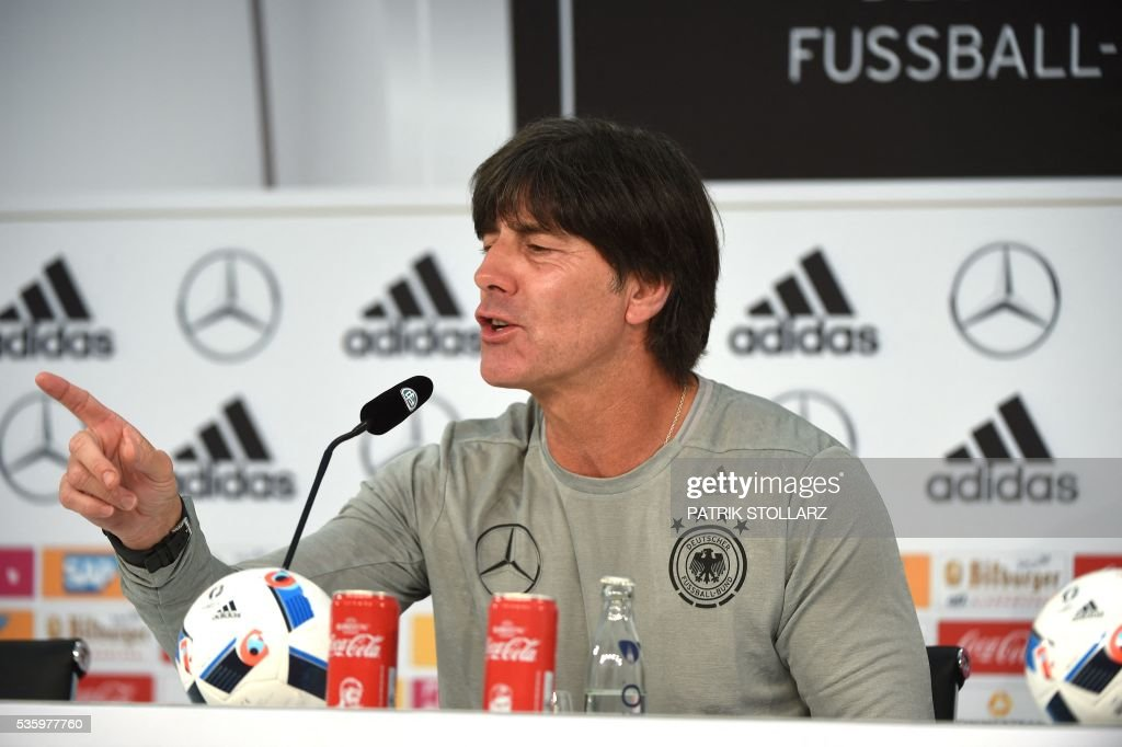 Germany's head coach Joachim Loew gives a press conference on the sideline of the team's preparation for the upcoming Euro 2016 European football championships, on May 31, 2016 in Ascona. / AFP / PATRIK