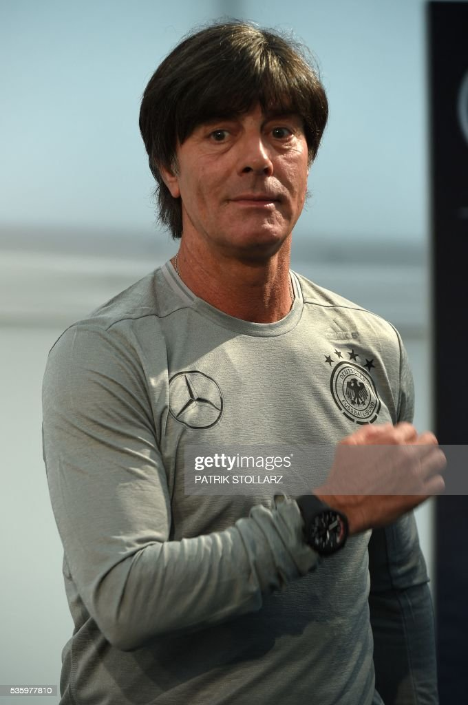 Germany's head coach Joachim Loew is pictured as he gives a press conference on the sideline of the team's preparation for the upcoming Euro 2016 European football championships, on May 31, 2016 in Ascona. / AFP / PATRIK