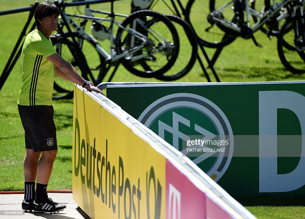 Germany's head coach Joachim Loew is pictured during a training session as part of the team's preparation for the upcoming Euro 2016 European football championships, on May 25, 2016 in Ascona. STOLLARZ