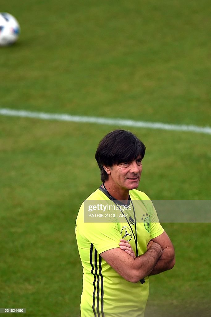 Germany' head coach Joachim Loew looks on during a training session as part of the team's preparation for the upcoming Euro 2016 European football championships, on May 28, 2016 in Ascona. / AFP / PATRIK
