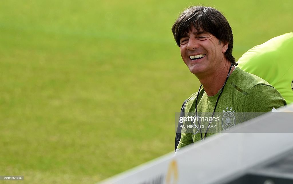 Germany's head coach Joachim Loew looks on during a training session on May 31, 2016 in Ascona as part of the team's preparation for the upcoming Euro 2016 European football championships. / AFP / PATRIK