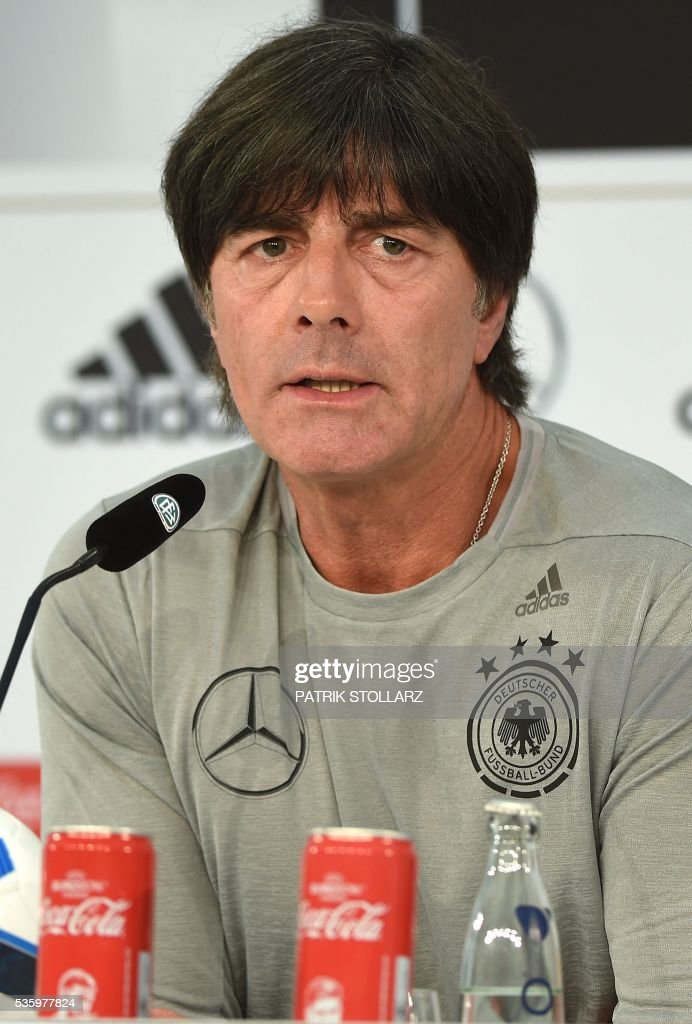 Germany's head coach Joachim Loew speaks during a press conference on the sideline of the team's preparation for the upcoming Euro 2016 European football championships, on May 31, 2016 in Ascona. / AFP / PATRIK