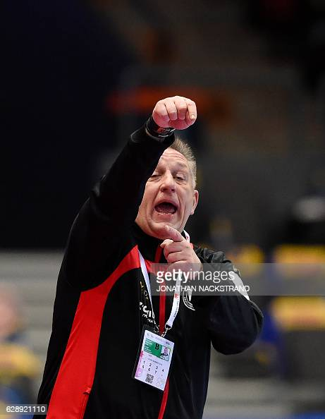 Germany's head coach Michael Biegler reacts during the Women's European Handball Championship Group I match between Serbia and Germany in Gothenburg...