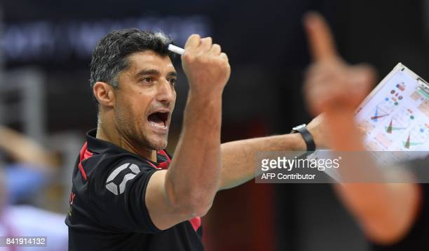 Germany's headcoach Andrea Giani reacts during the semifinal match between Serbia and Germany of the 2017 CEV Men's Volleyball European Championship...