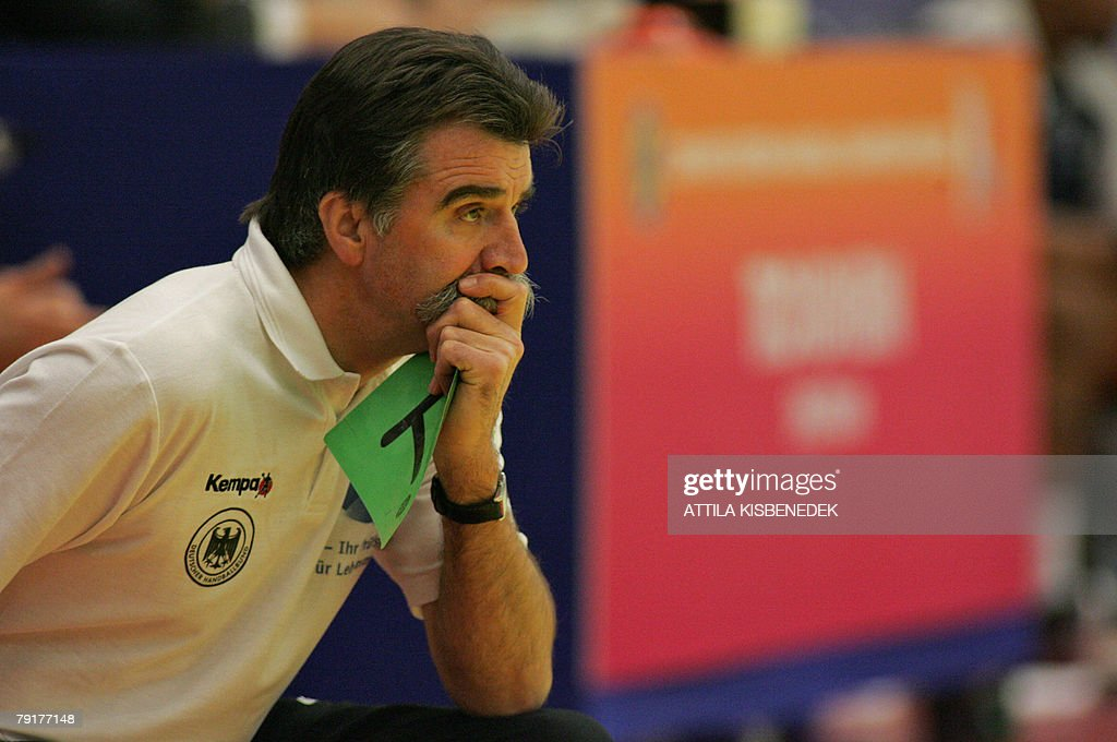 Germany's headcoach Heiner Brand watches his team playing against France during their 8th Men's European Handball Championship Main Round match, 23 January 2008 at the Spektrum sports hall in Trondheim.