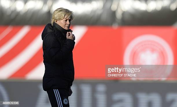 Germany's headcoach Silvia Neid attends a training session of Germany's Women's national football team in Fuerth southern Germany on April 7 2015 on...