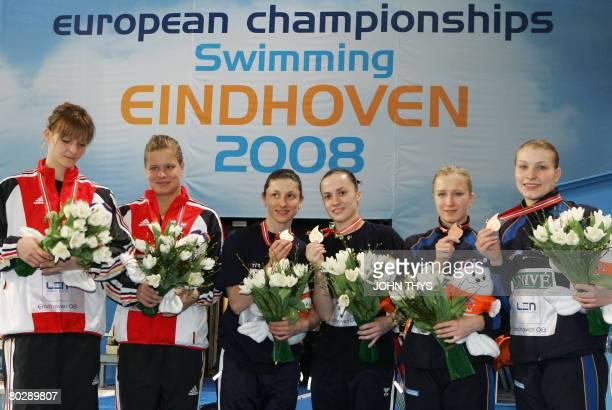 Germany's Heike Fisher and Ditte Kotzian Russia's Julia Pakhalina and Anastasia Pozdnyakova Ukraine's Olena Fedorova and Alevtina Korolyoiva pose...