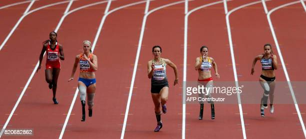 Germany's Irmgard Bensusan and The Netherland's Fleur Jong compete in the Women's 200 metres T44 heat during the World Para Athletics Championships...