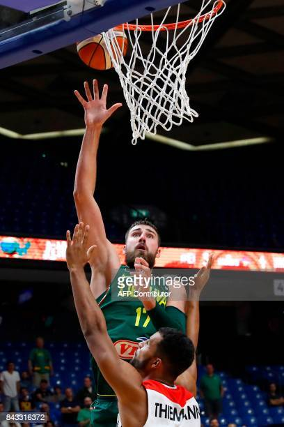 Germany's Isaiah Hartenstein vies with Lithuania's Jonas Valanciunas during the FIBA EuroBasket 2017 championship match between Germany and Lithuania...