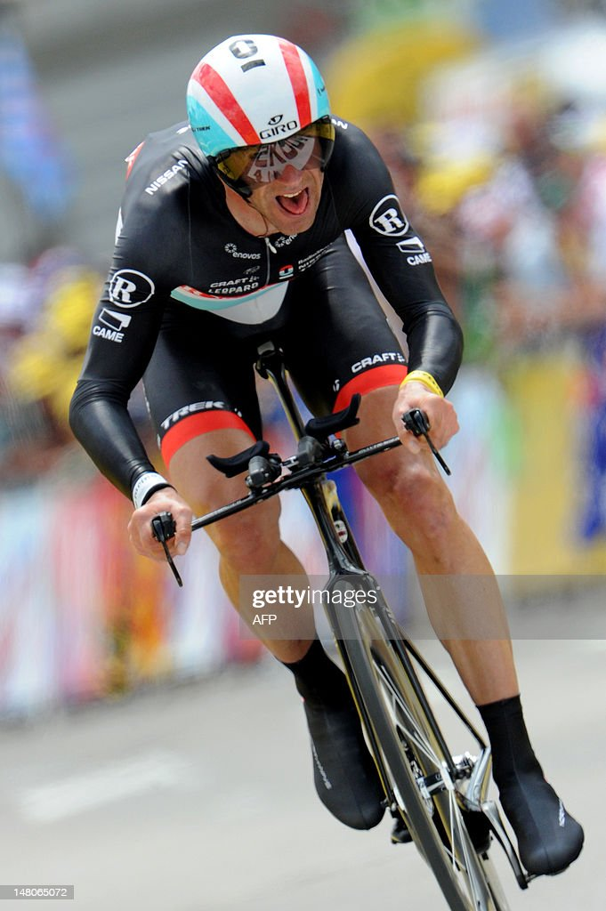 Germany's Jens Voigt competes in the 41,5 km individual time-trial and ninth stage of the 2012 Tour de France cycling race starting in Arc-et-Senans and finishing in Besancon, eastern France, on July 9, 2012. AFP PHOTO / PASCAL PAVANII