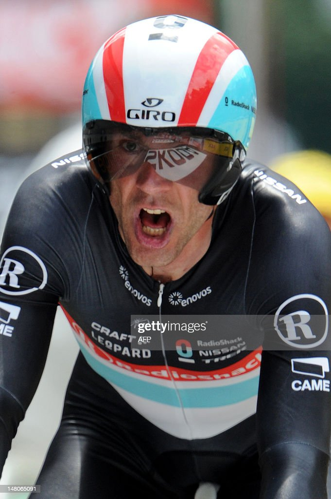 Germany's Jens Voigt reacts after he competed in the 41,5 km individual time-trial and ninth stage of the 2012 Tour de France cycling race starting in Arc-et-Senans and finishing in Besancon, eastern France, on July 9, 2012. AFP PHOTO / PASCAL PAVANII