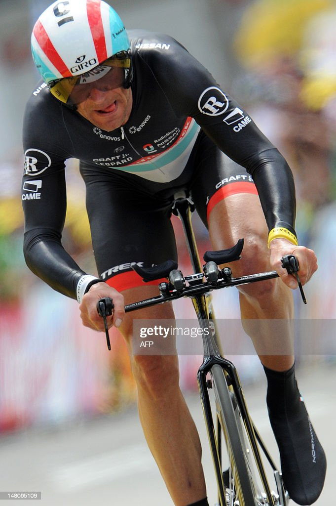 Germany's Jens Voigt reacts after he competed in the 41,5 km individual time-trial and ninth stage of the 2012 Tour de France cycling race starting in Arc-et-Senans and finishing in Besancon, eastern France, on July 9, 2012.