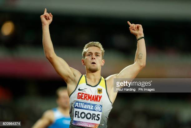 Germany's Johannes Floors celebrates winning the Men's 200m T43 during day nine of the 2017 World Para Athletics Championships at London Stadium