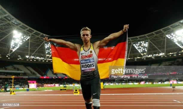 Germany's Johannes Floors celebrates winning the Men's 200m T43 Final during day nine of the 2017 World Para Athletics Championships at London Stadium