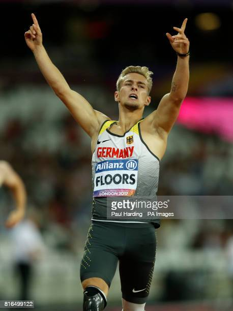 Germany's Johannes Floors celebrates winning the Men's 400m T43 Final during day four of the 2017 World Para Athletics Championships at London Stadium