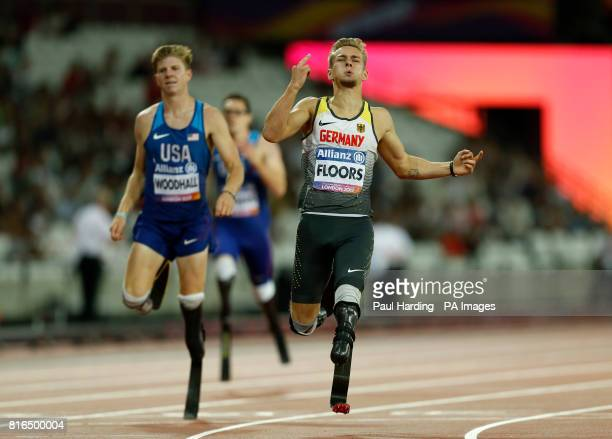 Germany's Johannes Floors crosses the line to win the Men's 400m T43 Final during day four of the 2017 World Para Athletics Championships at London...