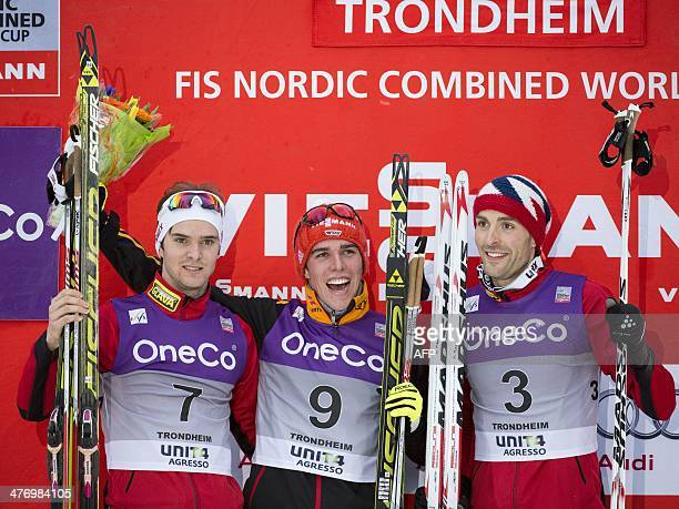 Germany's Johannes Rydzek celebrates winning the Nordic combined World Cup event in Trondheim Norway ahead of second placed Norway's Joergen Graabak...