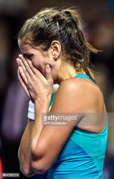 Germany's Julia Goerges celebrates after her victory over Russia's Daria Kasatkina in the Kremlin Cup tennis tournament women's singles final match...