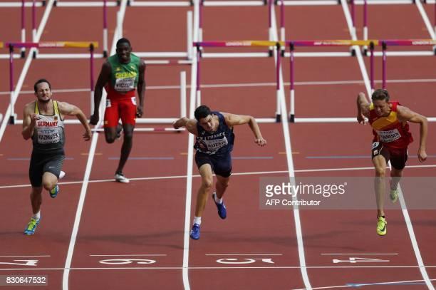 Germany's Kai Kazmirek Grenada's Lindon Victor France's Bastien Auzeil and Spain's Pau Tonnesen compete in the men's decathlon 110m hurdles athletics...