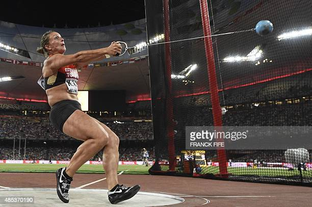 Germany's Kathrin Klaas competes in the final of the women's hammer throw athletics event at the 2015 IAAF World Championships at the 'Bird's Nest'...