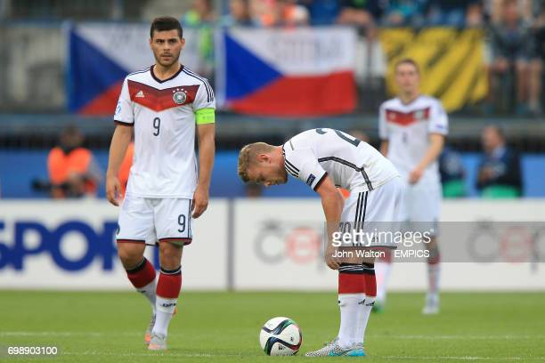 Germany's Kevin Volland and Maximilian Meyer look dejected after seeing their side concede a fifth goal