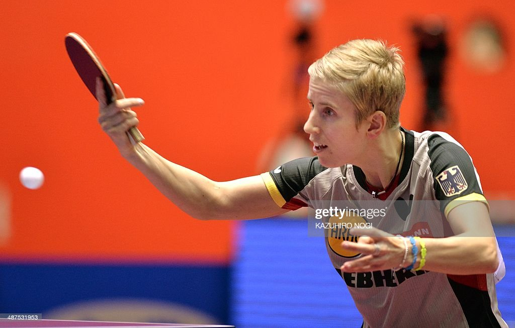 Germany's Kristin Silbereisen returns a shot against Serbia's Ana-Maria Erdelji during their match in the women's team championship division group D at the 2014 World Team Table Tennis Championships in Tokyo on May 1, 2014.