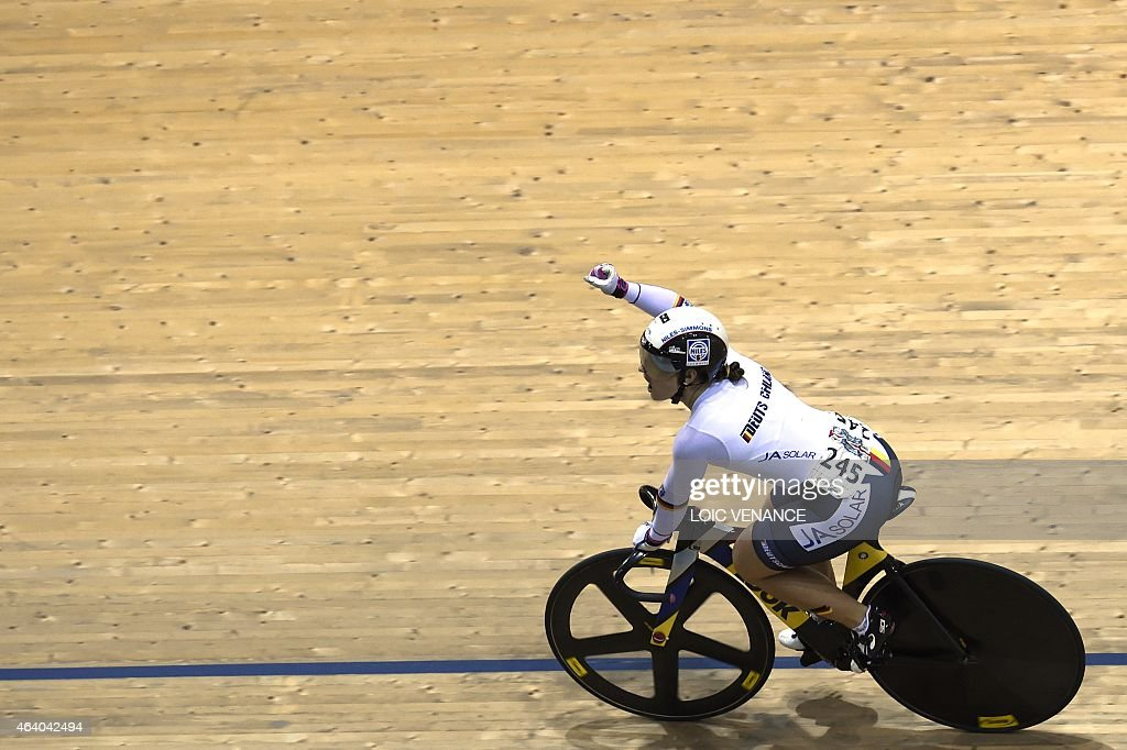 Germany's <a gi-track='captionPersonalityLinkClicked' href=/galleries/search?phrase=Kristina+Vogel&family=editorial&specificpeople=5779542 ng-click='$event.stopPropagation()'>Kristina Vogel</a> reacts after winning the Women's Sprint semi-finals decider at the UCI Track Cycling World Championships in Saint-Quentin-en-Yvelines, near Paris, on February 21, 2015.