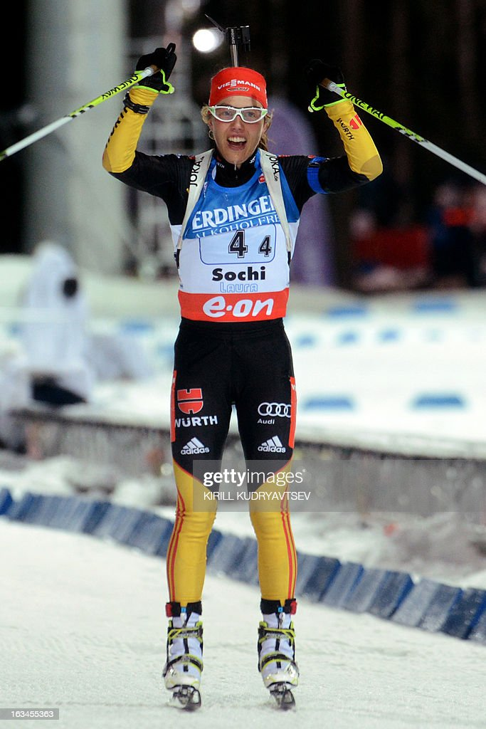 Germany's Laura Dahlmeier celebrates after Women 4x6 km Relay during an IBU World Cup Biathlon at Laura Cross Country and Biathlon Centre in Sochi on March 10, 2013. Germany took the first place ahead of Ukraine and Norway.