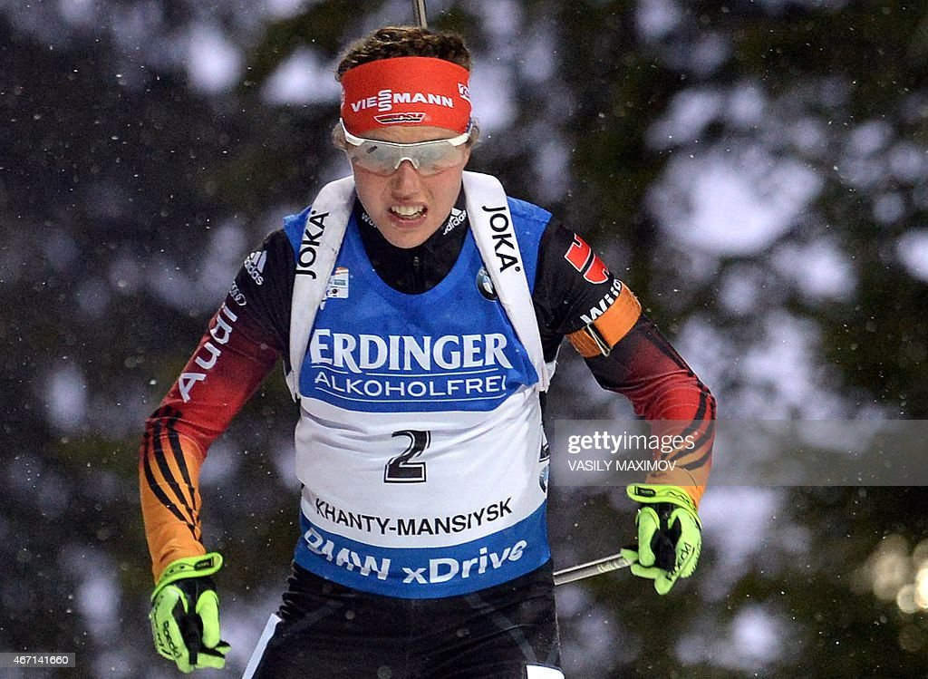 Germany's <a gi-track='captionPersonalityLinkClicked' href=/galleries/search?phrase=Laura+Dahlmeier&family=editorial&specificpeople=10284324 ng-click='$event.stopPropagation()'>Laura Dahlmeier</a> competes in the women's 10 km pursuit event of the IBU Biathlon Word Cup in the Siberian city of Khanty-Mansiysk on March 21, 2015. AFP PHOTO / VASILY MAXIMOV