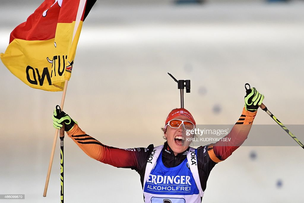 Germany's <a gi-track='captionPersonalityLinkClicked' href=/galleries/search?phrase=Laura+Dahlmeier&family=editorial&specificpeople=10284324 ng-click='$event.stopPropagation()'>Laura Dahlmeier</a> reacts after the Women 4x6 Relay at the IBU Biathlon World Championship in Kontiolahti, Finland on March 13, 2015. Germany's team won the competition, France's team placed second and Italy placed third. AFP PHOTO / KIRILL KUDRYAVTSEV