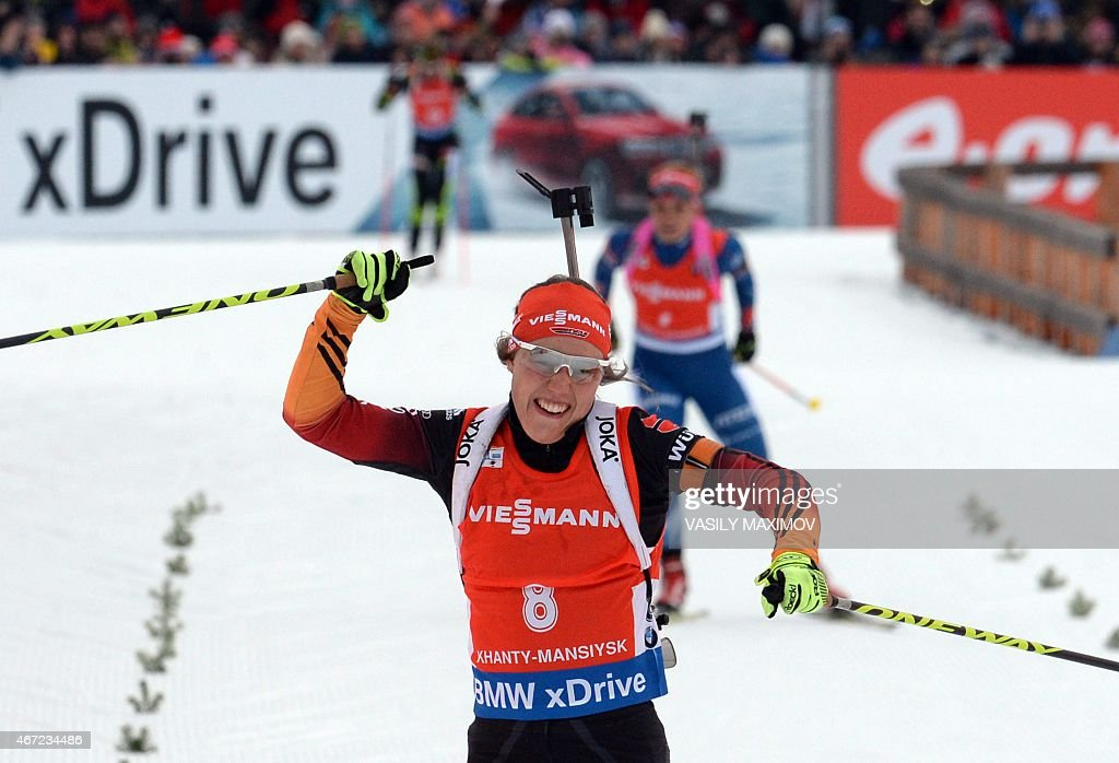 Germany's <a gi-track='captionPersonalityLinkClicked' href=/galleries/search?phrase=Laura+Dahlmeier&family=editorial&specificpeople=10284324 ng-click='$event.stopPropagation()'>Laura Dahlmeier</a> reacts as she crosses the finish line during the women's 12,5 km mass start event of the Biathlon Word Cup in the Siberian city of Khanty-Mansiysk, on March 22, 2015. AFP PHOTO / VASILY MAXIMOV