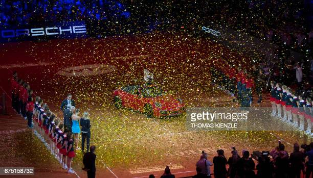 Germany's Laura Siegemund celebrates with trophy after winning the final match against France's Kristina Mladenovic at the WTA Tennis Grand Prix in...
