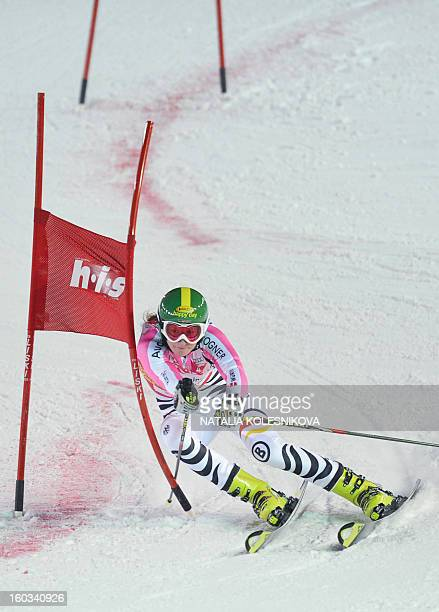 Germany's Lena Duerr competes at the FIS Ski World Cup Parallel Slalom city event in Moscow on January 29 2013 Lena Duerr won the competition AFP...