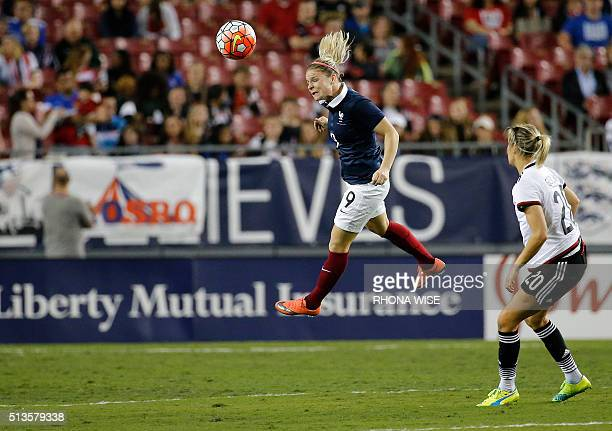 Germany's Lena Goebling watches France's Marion Torrent head the ball during their first round SheBelieves Cup soccer match March 3 2016 in Tampa...