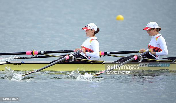 Germany's Lena Mueller and Anja Noske compete in the women's lightweight double sculls heats of the rowing event during the London 2012 Olympic Games...