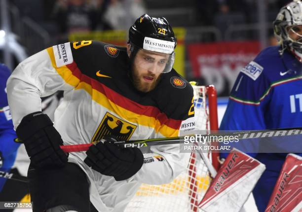 Germany's Leon Draisaitl vies during the IIHF Ice Hockey World Championships first round match between Italy and Germany in Cologne western Germany...