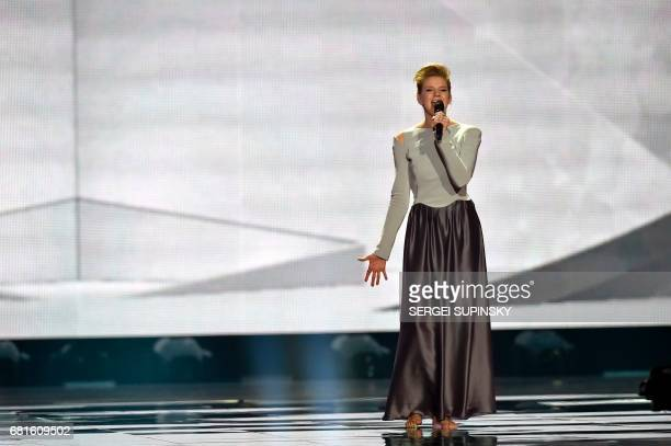 Germany's Levina performs the song 'Perfect Life' during the second semifinal dress rehearsal of the Eurovision Song Contest 2017 on May 10 2017 at...