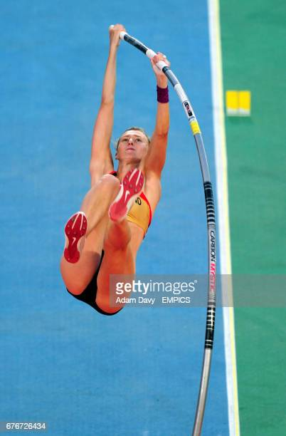 Germany's Lisa Ryzih on her way to Bronze in the Women's Pole Vault Final