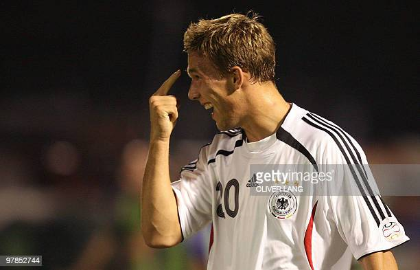 Germany's Lukas Podolski celebrates after scoring against San Marino during their Euro 2008 qualifying football match 06 September 2006 in Sarravalle...