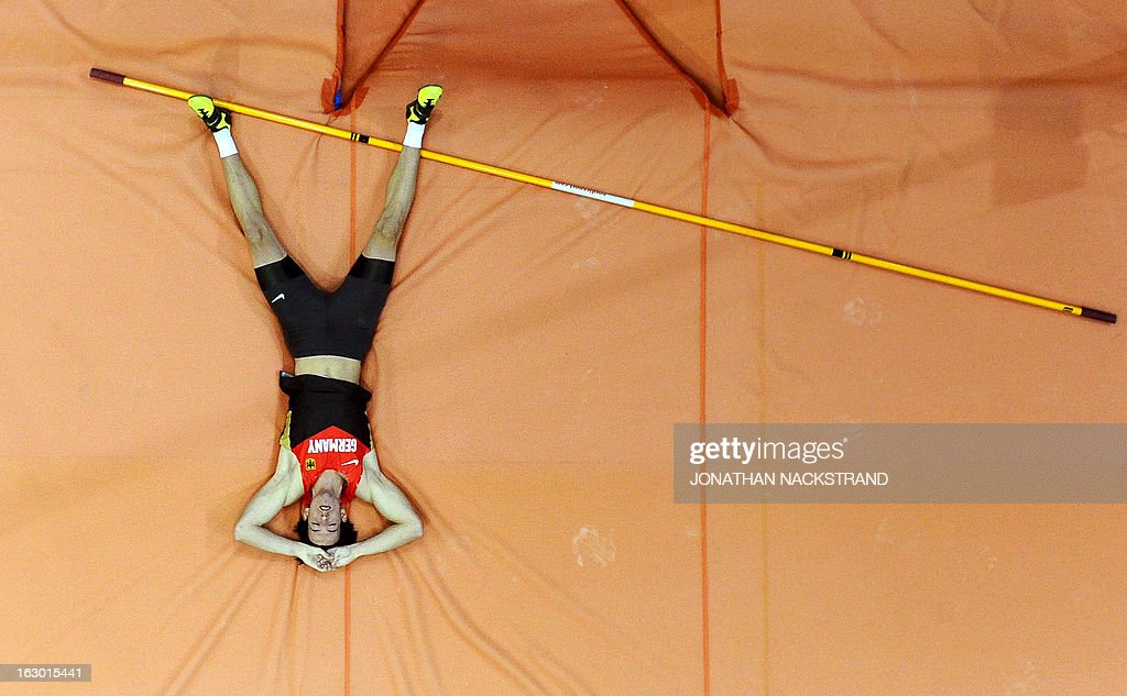 Germany's Malte Mohr reacts as he competes during the Pole Vault Men Final event at the European Indoor Athletics Championships in Gothenburg, Sweden, on March 3, 2013. AFP PHOTO / JONATHAN NACKSTRAND