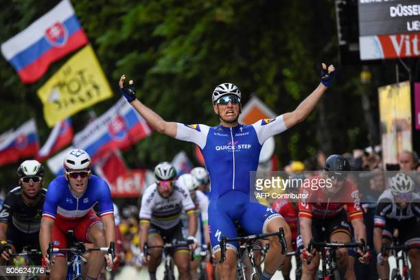 Germany's Marcel Kittel celebrates as he crosses the finish line ahead of Great Britain's Mark Cavendish France's Arnaud Demare Slovakia's Peter...