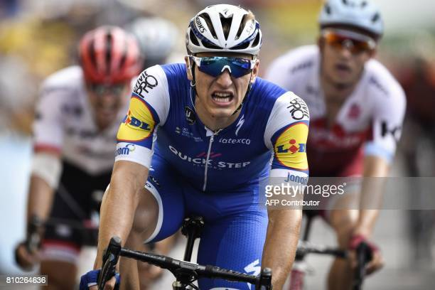 Germany's Marcel Kittel crosses the finish line at the end of the 2135 km seventh stage of the 104th edition of the Tour de France cycling race on...