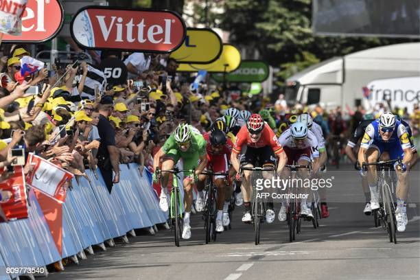Germany's Marcel Kittel Norway's Alexander Kristoff Germany's Andre Greipel France's Nacer Bouhanni and France's Arnaud Demare wearing the best...
